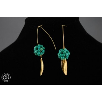 Gold plated earring with a group of small green Turquoise beads