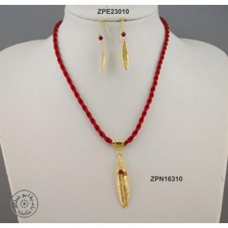 Gold plated cloth necklace with Swarovski inside big olive leaf & rolled olive leaf hook (Garnet color)
