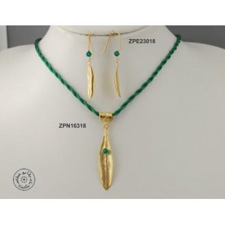 Gold plated cloth necklace with Swarovski inside big olive leaf & rolled olive leaf hook (Emerald color)