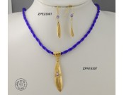 Gold plated cloth necklace with Swarovski inside big olive leaf & rolled olive leaf hook (purple Velvet color)