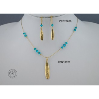 Gold plated Necklace chain with Swarovski (blue Zircon color)
