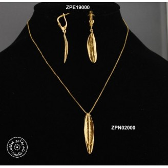 Gold plated necklace -  2 olive leaves (chain 40cm)