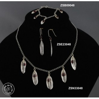 Sterling silver chain necklace and 5 hanging olive leaves inside them garnet beads