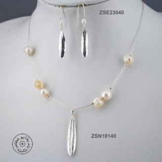 Sterling silver chain necklace with semi precious stone and 1 olive leaf (white pearl bead)