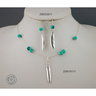 Sterling silver chain necklace with semi precious stone and 1 olive leaf (green bead)