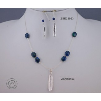 Sterling silver earring with Azurite Malachite bead