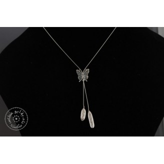 Sterling silver chain necklace & 2 small olive leaves with sterling silver butterfly